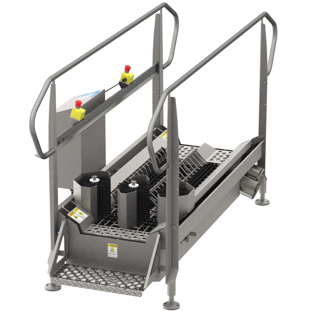 BLX-1000V9 automated walk through industrial boot scrubber made of durable stainless steel for cleaning the bottom soles and sides of boots and other footwear
