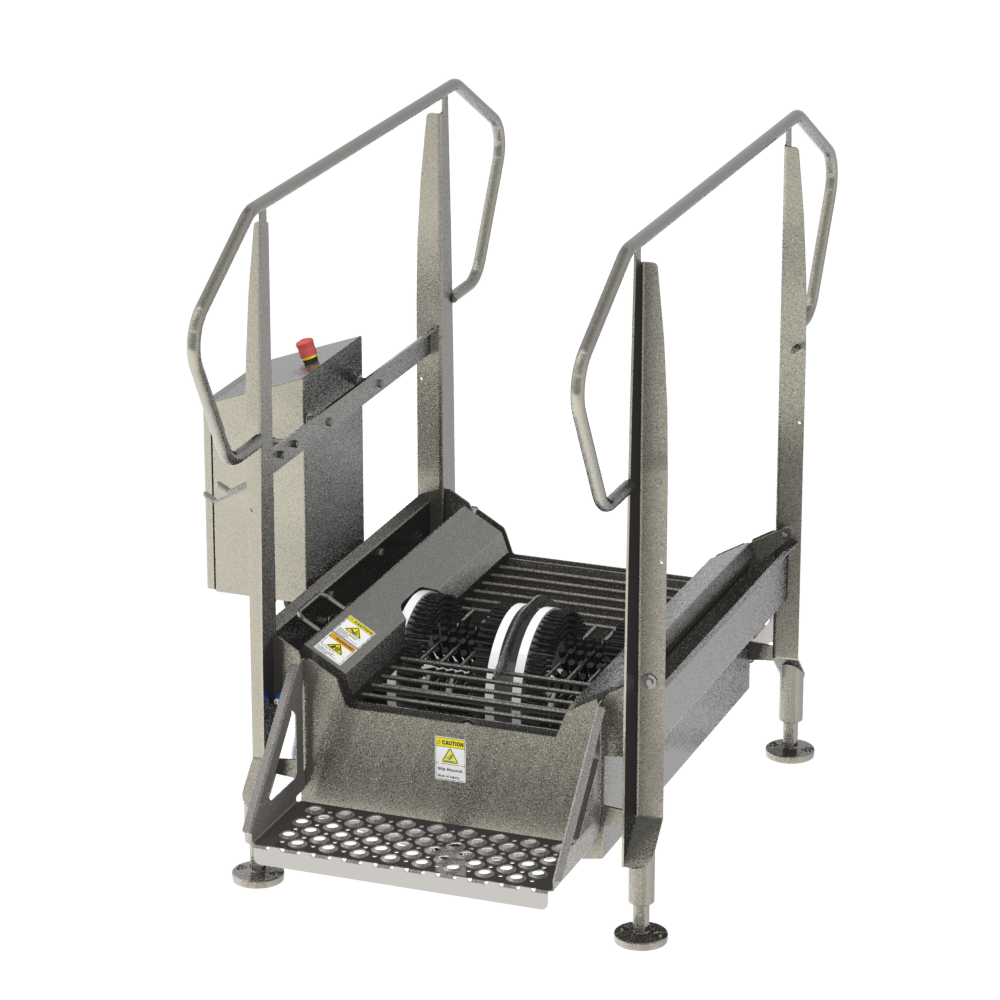 BLX-800R-GEN2 compact automated walk through industrial boot scrubber made of durable stainless steel for cleaning the bottom soles and sides of boots and other footwear