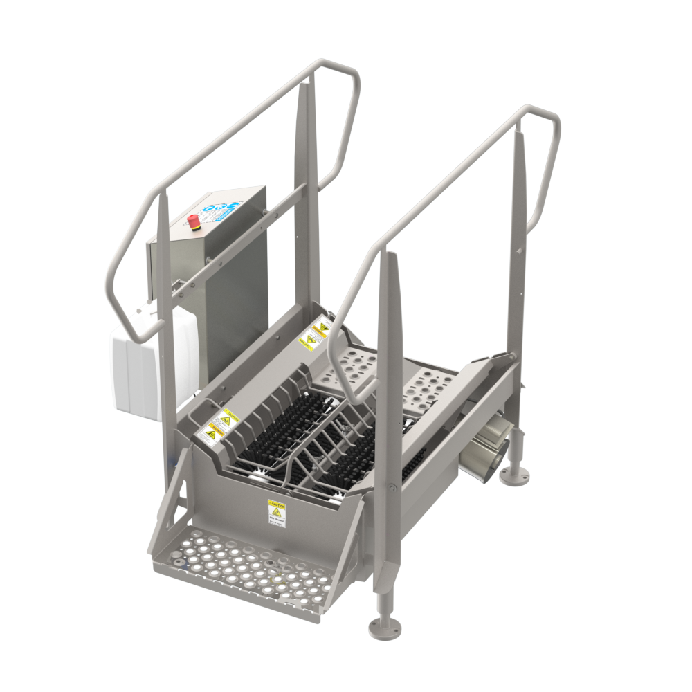 BLX-900 compact automated walk through industrial boot scrubber made of durable stainless steel for cleaning the bottom soles of boots and other footwear